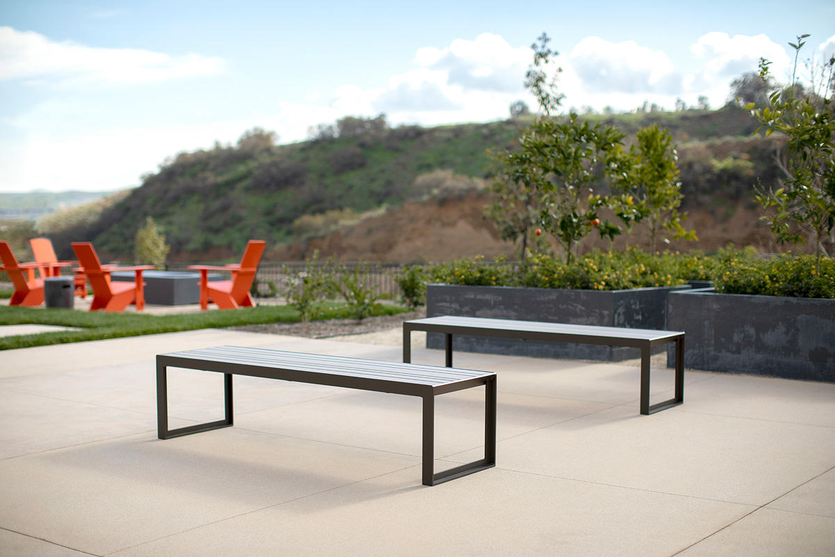 Dash Benches shown with frames in Slate Texture powdercoat and seats in TENSL Ul