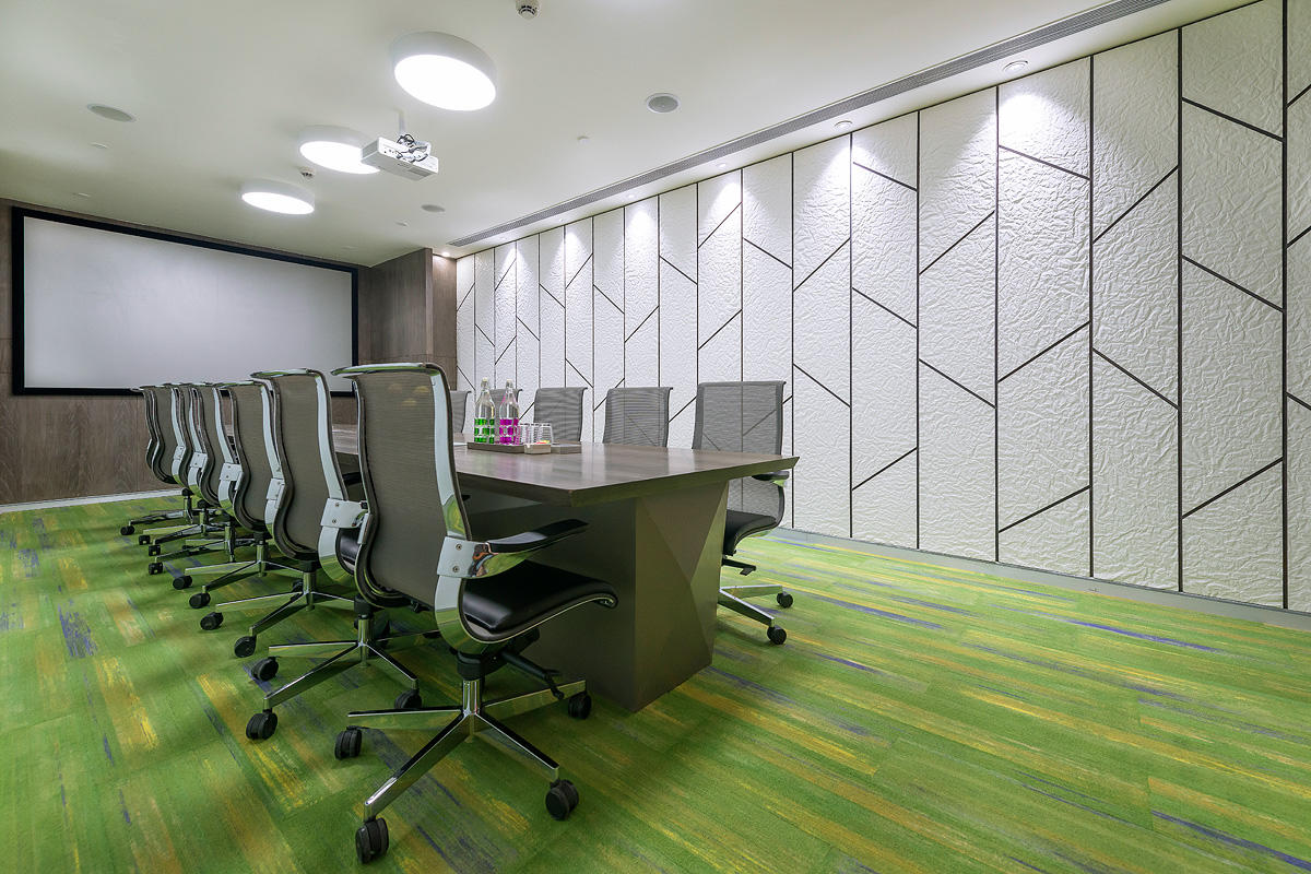 Superieur Wall Panels In Bonded Quartz, White With Crinkle Pattern At Corporatedge  Office   IAAD, Gurgaon, Haryana, India