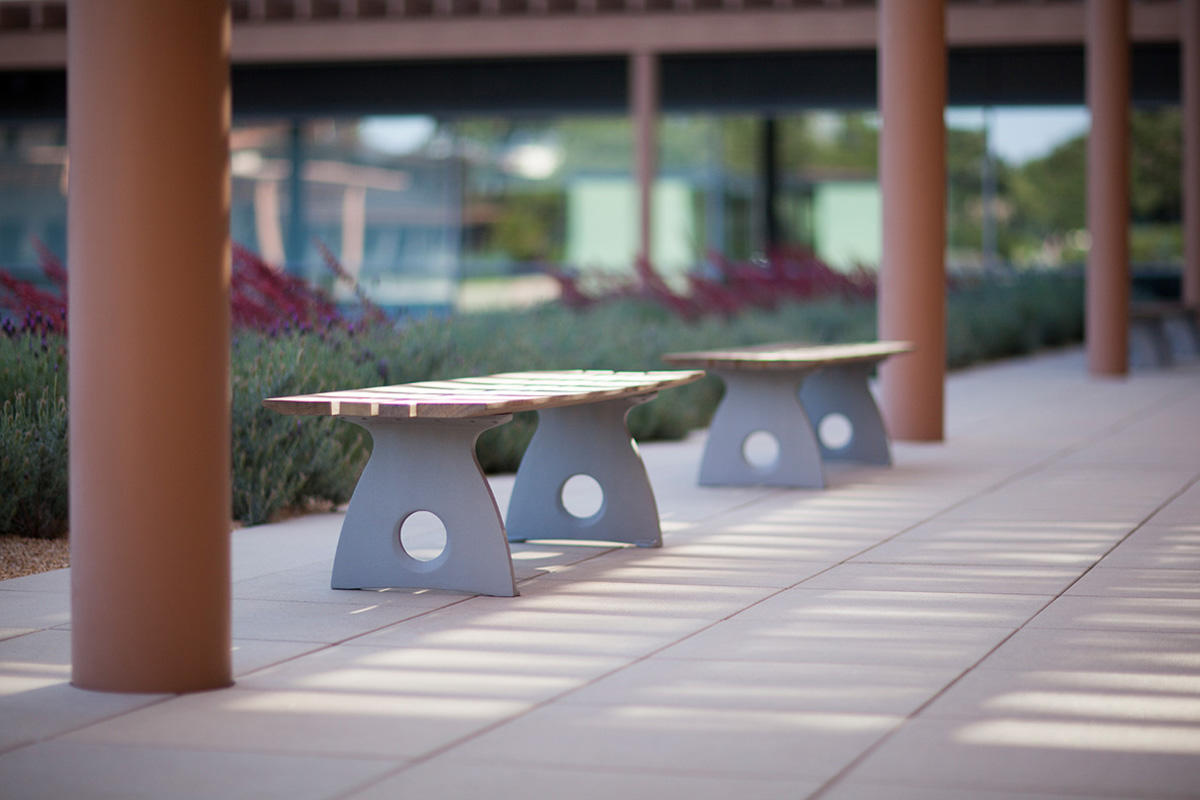 Leda Benches shown in 6 foot, backless configuration with Aluminum Texture