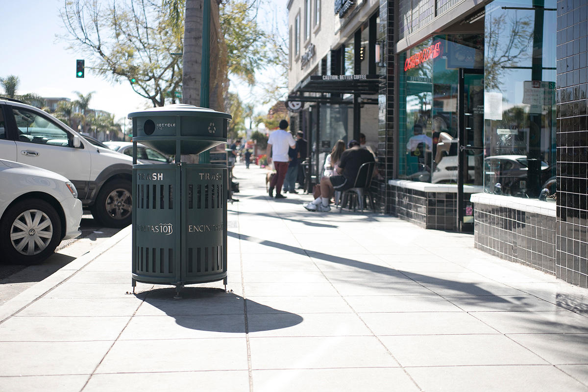 Urban Renaissance Litter & Recycling Receptacle shown in side opening