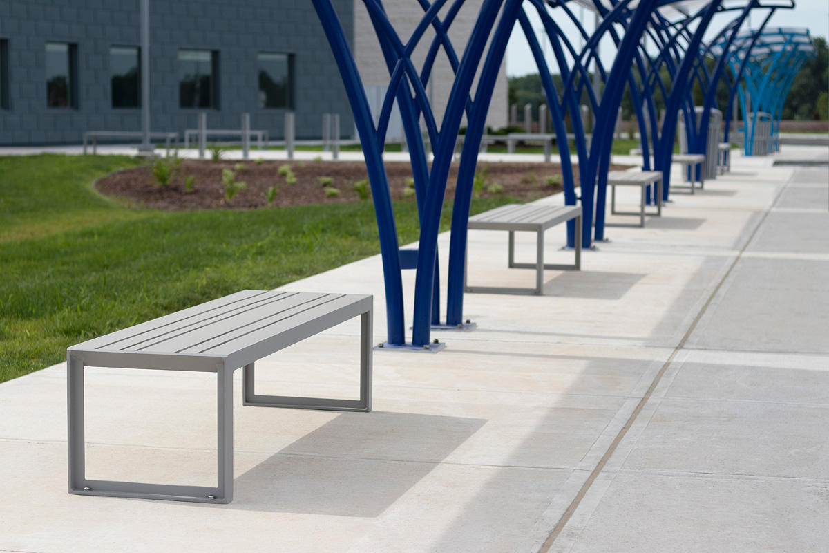Dash Benches shown with frames in Silver Texture powdercoat and seats in TENSL