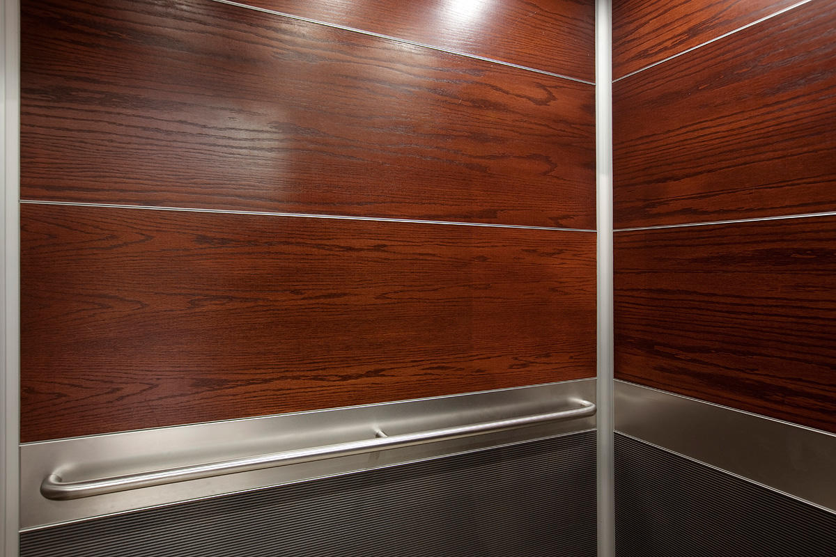 ... LEVELe-104 Elevator Interior with upper panels in custom wood veneer ... - Church Of Scientology Forms+Surfaces