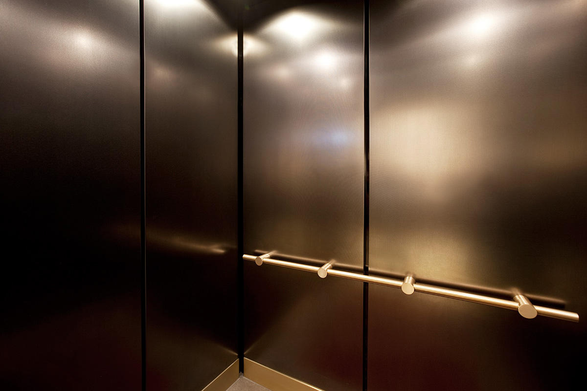 LEVELc-1000A Elevator Interior in Fused Nickel Silver with Linen finish