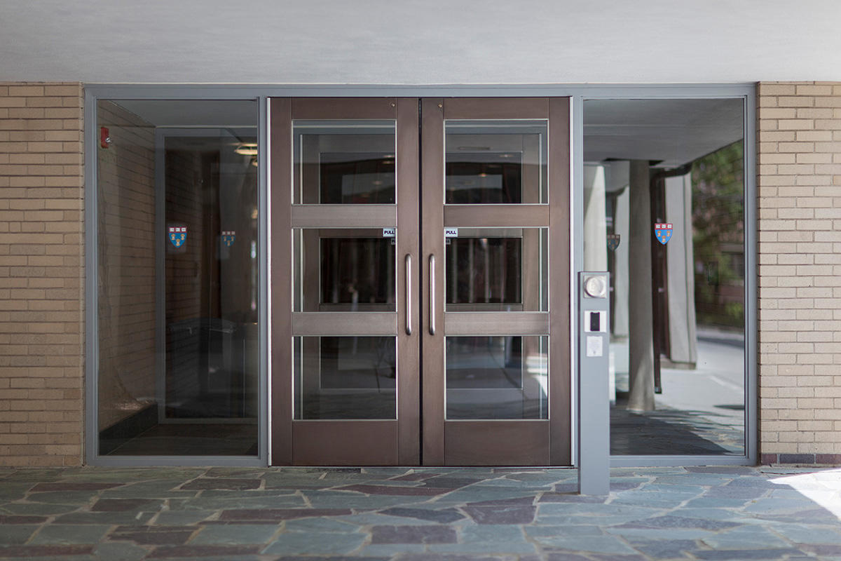 Harvard law school forms surfaces for Entrance doors