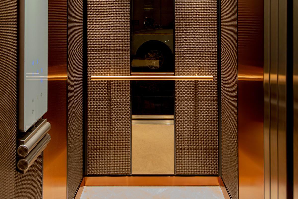 LEVELe-105 Elevator Interior with customized panel layout; Capture panels in Bon