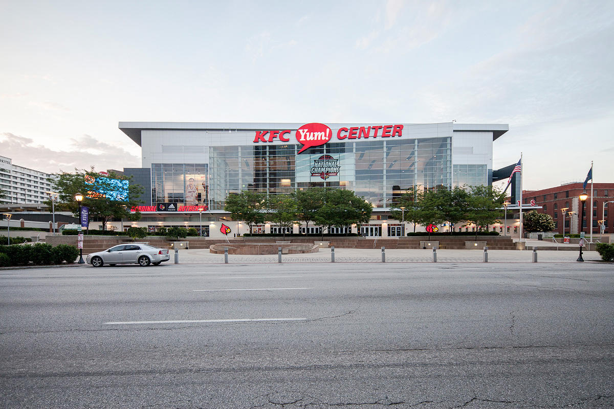 Knight Bollards shown with Slate Texture powdercoat at the KFC Yum! Center