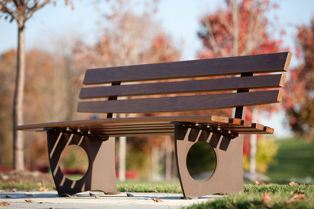 Leda Bench shown in 6 foot, backed configuration with Rust Texture powdercoat