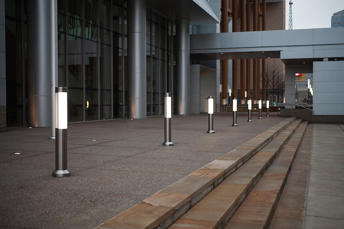 Light Column Bollards shown with 180 degree perforated shield
