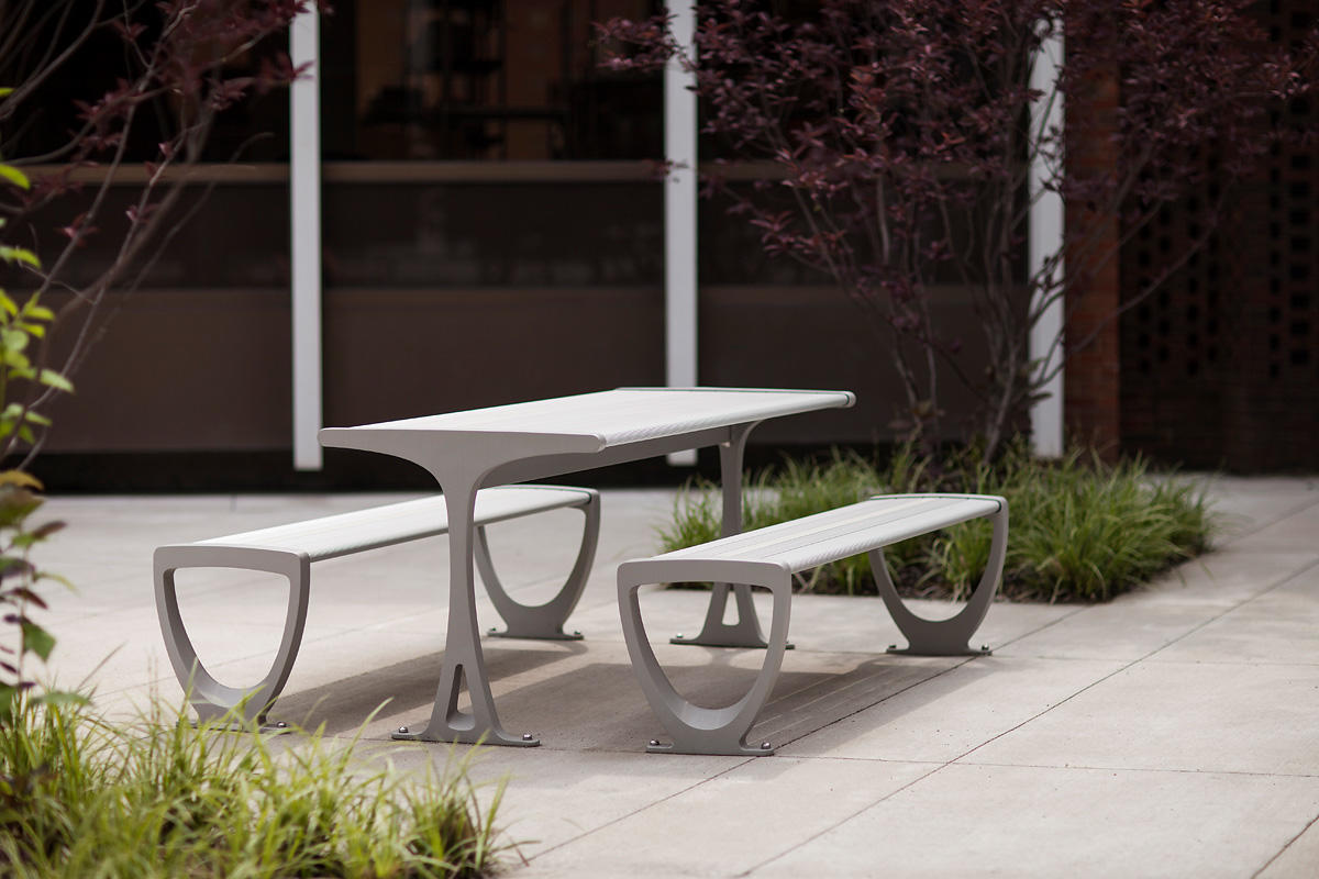 ... Trio Table Ensemble Shown With Aluminum Texture Powdercoated Frames ...