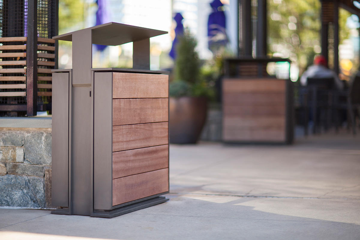 Apex Litter & Recycling Receptacles shown in 36 gallon, split-stream