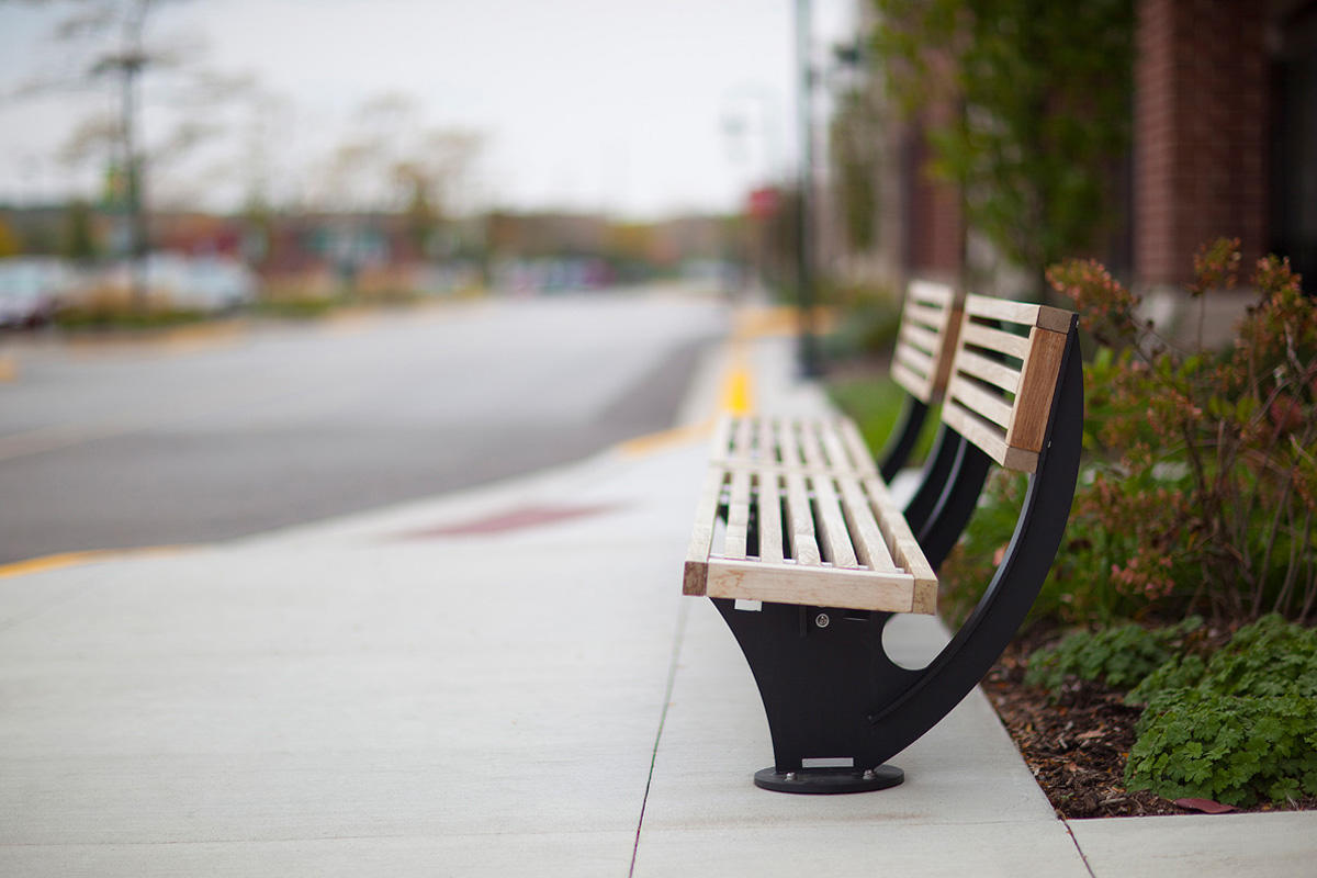 Pacifica Bench shown in 8 foot, short back, surface mount configuration
