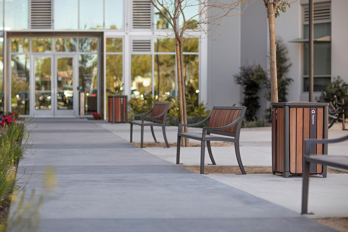 Cordia Benches shown in 6 foot, backed configuration with Slate Texture powderco