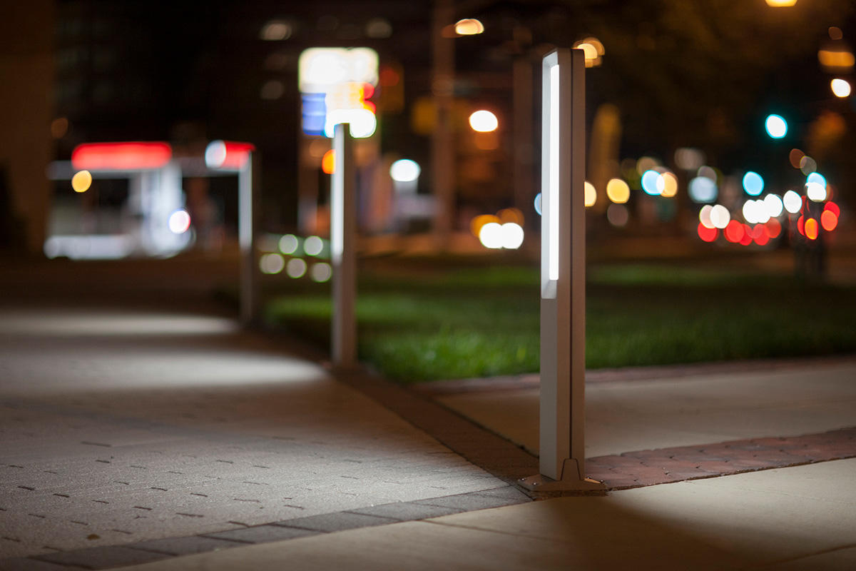 Tangent Bollards shown with Silver Texture powdercoat at The Terano at Twinbrook