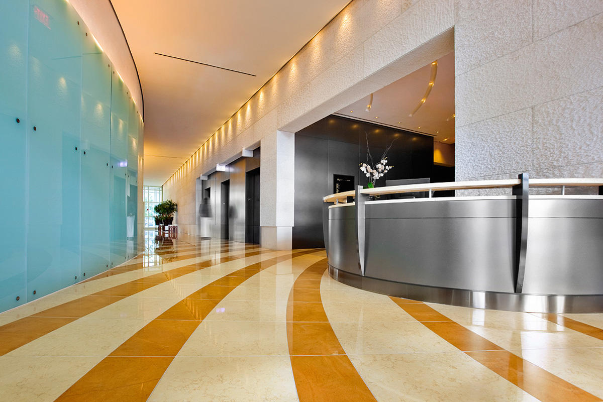 Reception desk in Fused Nickel Silver with Sandstone finish at The Regent, Washi