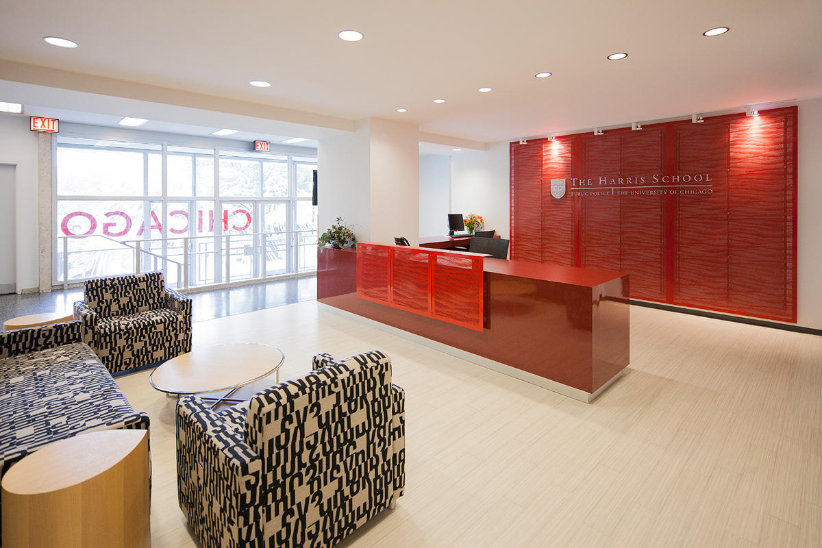 Panels On And Behind Reception Desk In Stainless Steel With Custom Scape  Perforation And Custom Powdercoat Color At University Of Chicago Harris  School Of ...