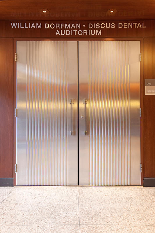 Doors shown in Stainless Steel with Satin finish and Dallas Impression pattern at University of the Pacific School of Dentistry William Dorfman-Discus ... & University of the Pacific School of Dentistry | Forms+Surfaces