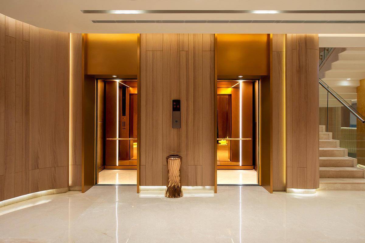 LEVELe-105 Elevator Interiors with customized panel layout; Minimal panels in Fu