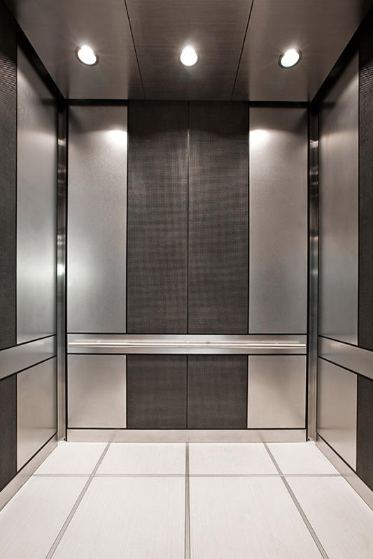 ... LEVELe 101 Elevator Interior With Main Panels In Stainless Steel With  Sandstone ...