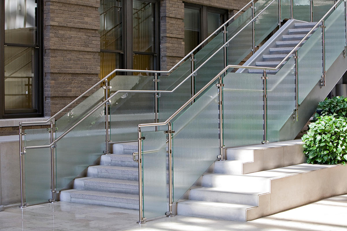 Railing infill in BermanGlass Classic Kiln Cast Glass with custom texture