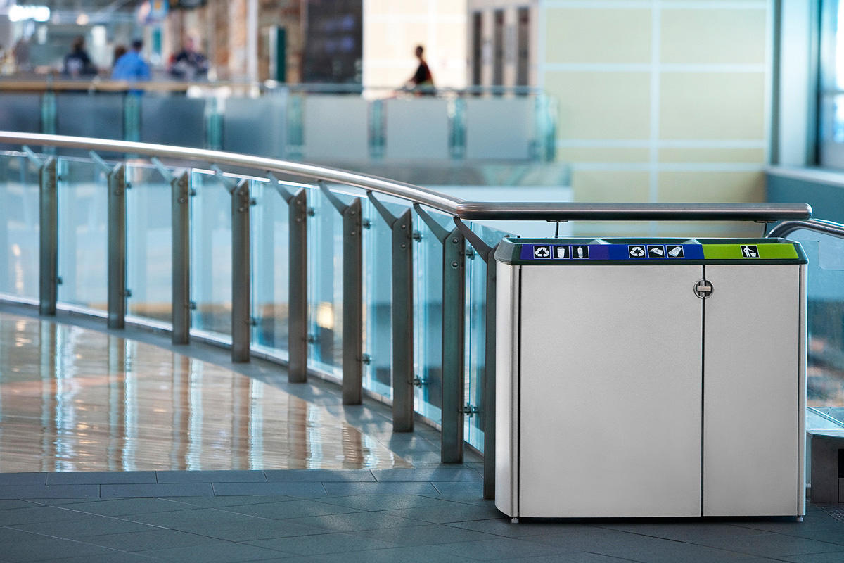 Transit Litter & Recycling Receptacle shown with Sandstone Stainless Steel