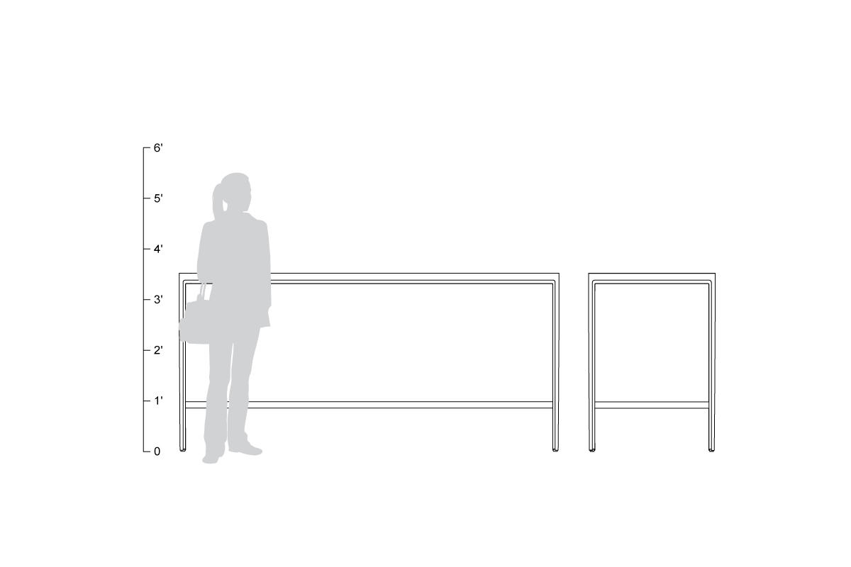 Avivo Bar-height Table, shown to scale