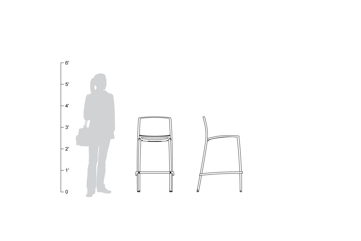 Avivo Bar Stool, shown to scale