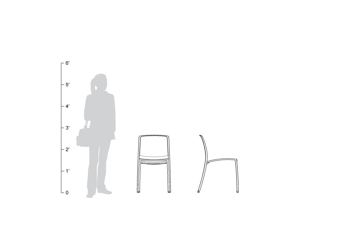 Avivo Chair, without armrests, shown to scale