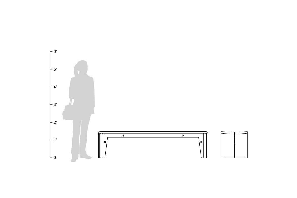 Bevel Bench, shown to scale.
