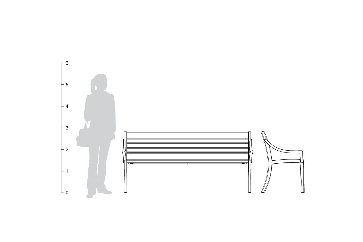 Cordia Bench, 6 foot, backed, aluminum slats, shown to scale