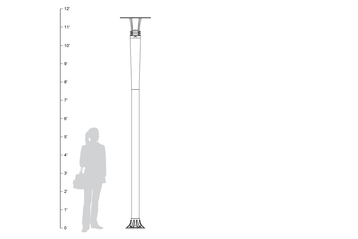 Cordia Pedestrian Lighting, shown to scale.