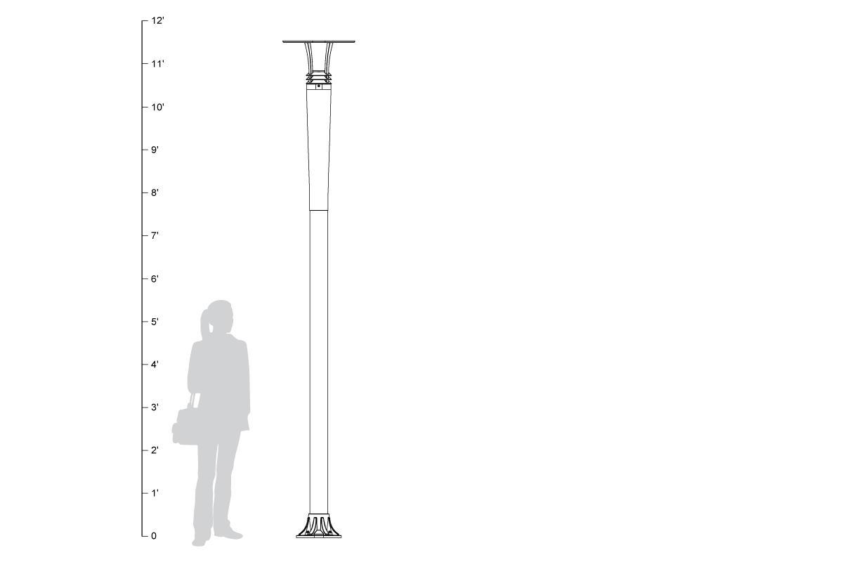Cordia Pedestrian Lighting, shown to scale.