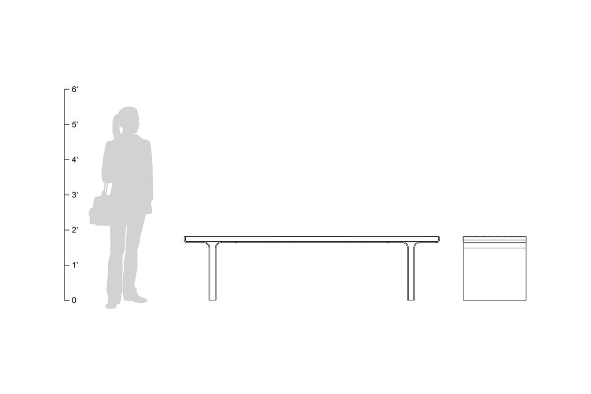 Flight bench, backless, 6 foot, shown to scale
