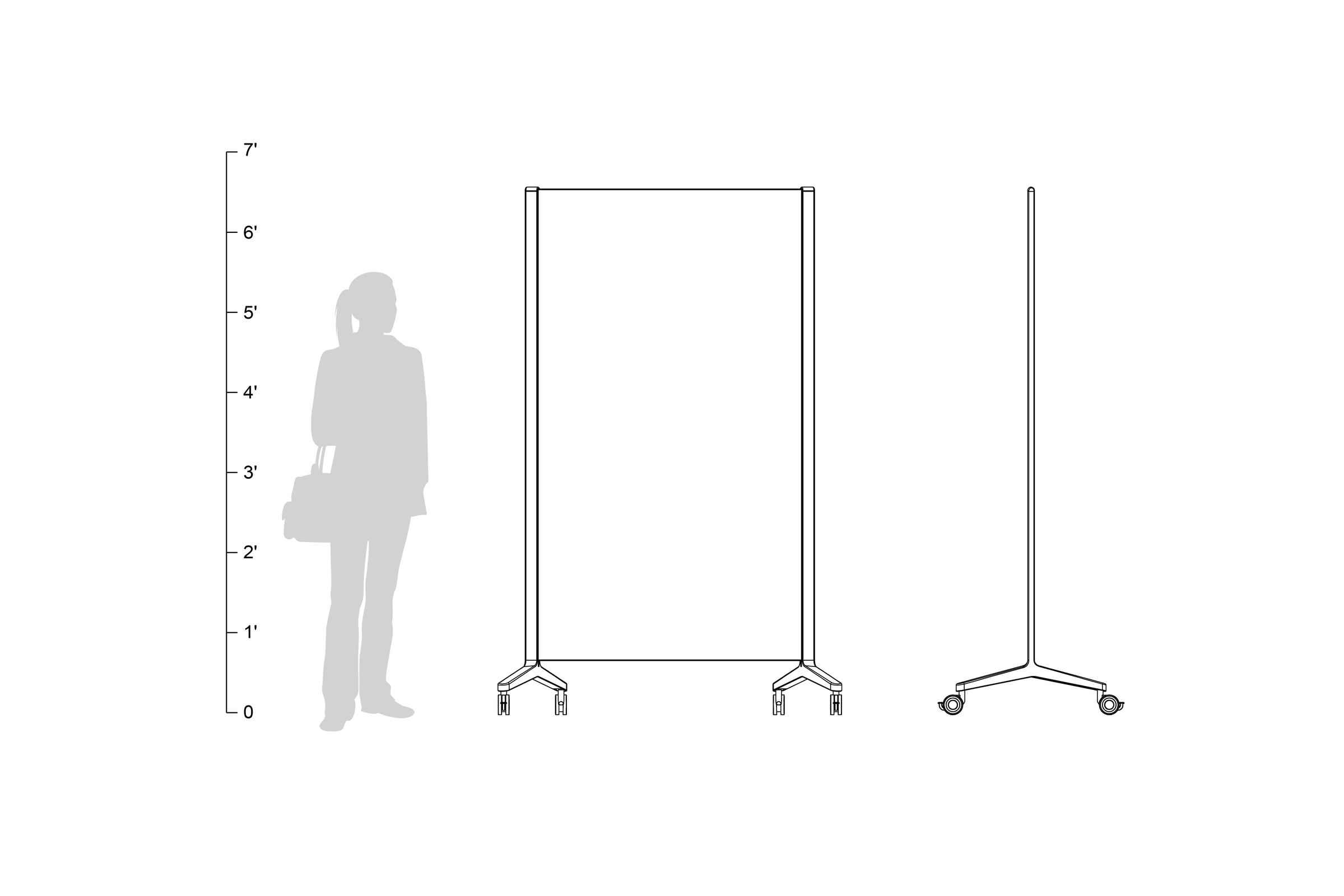 Jot Mobile Glassboard, shown to scale