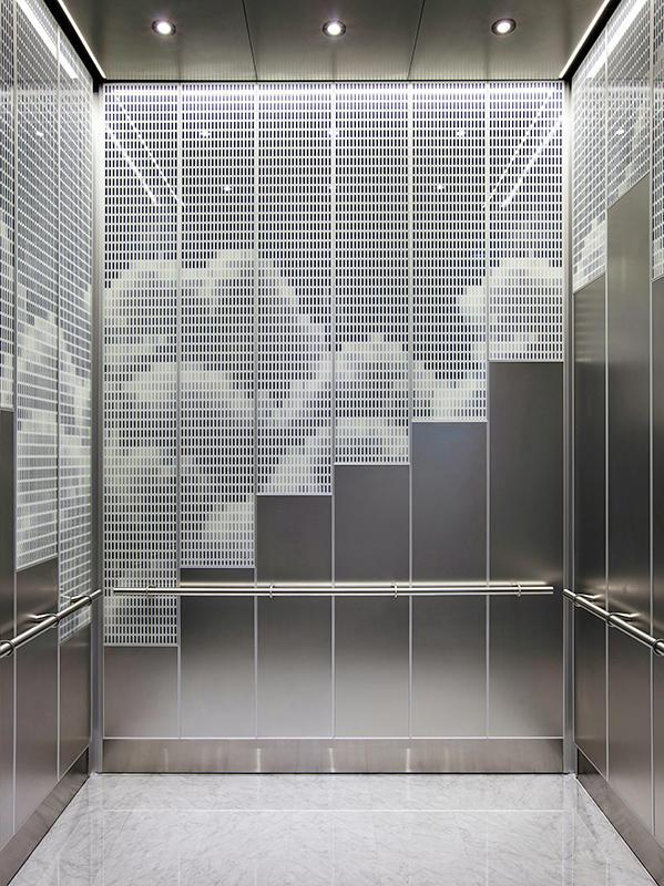 LEVELe-108 Elevator Interior shown with panels in ViviSpectra Spectrum glass