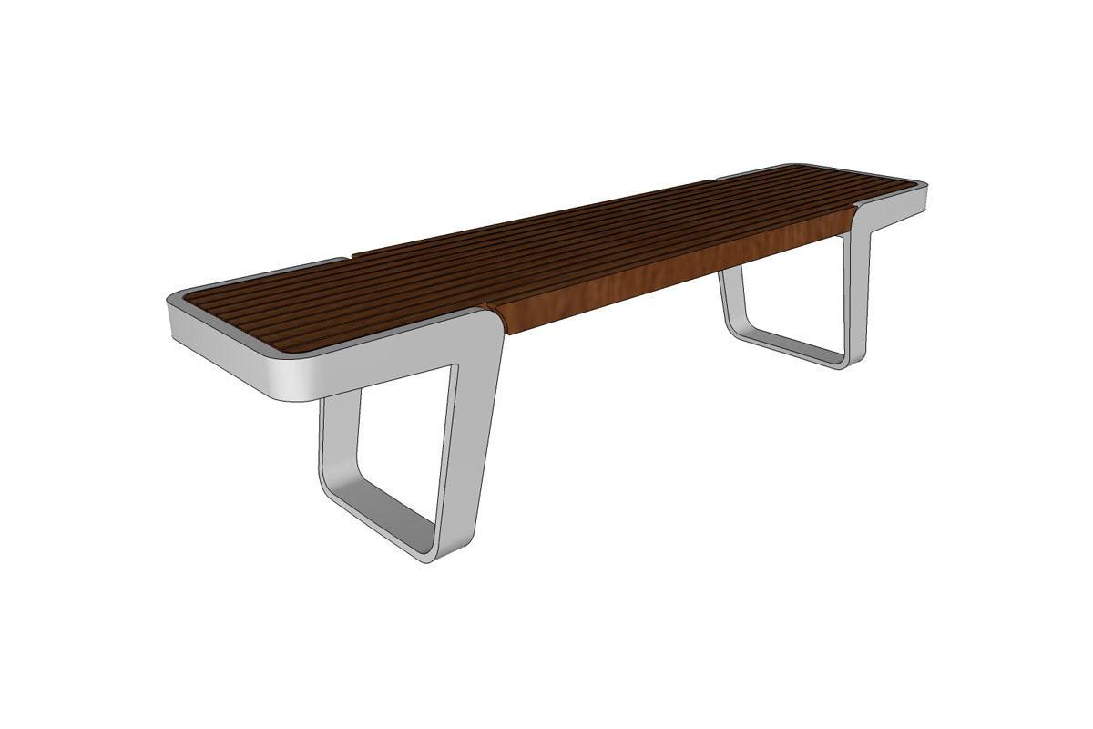 Circuit Bench, FSC Recycled reclaimed Teak hardwood slat seat