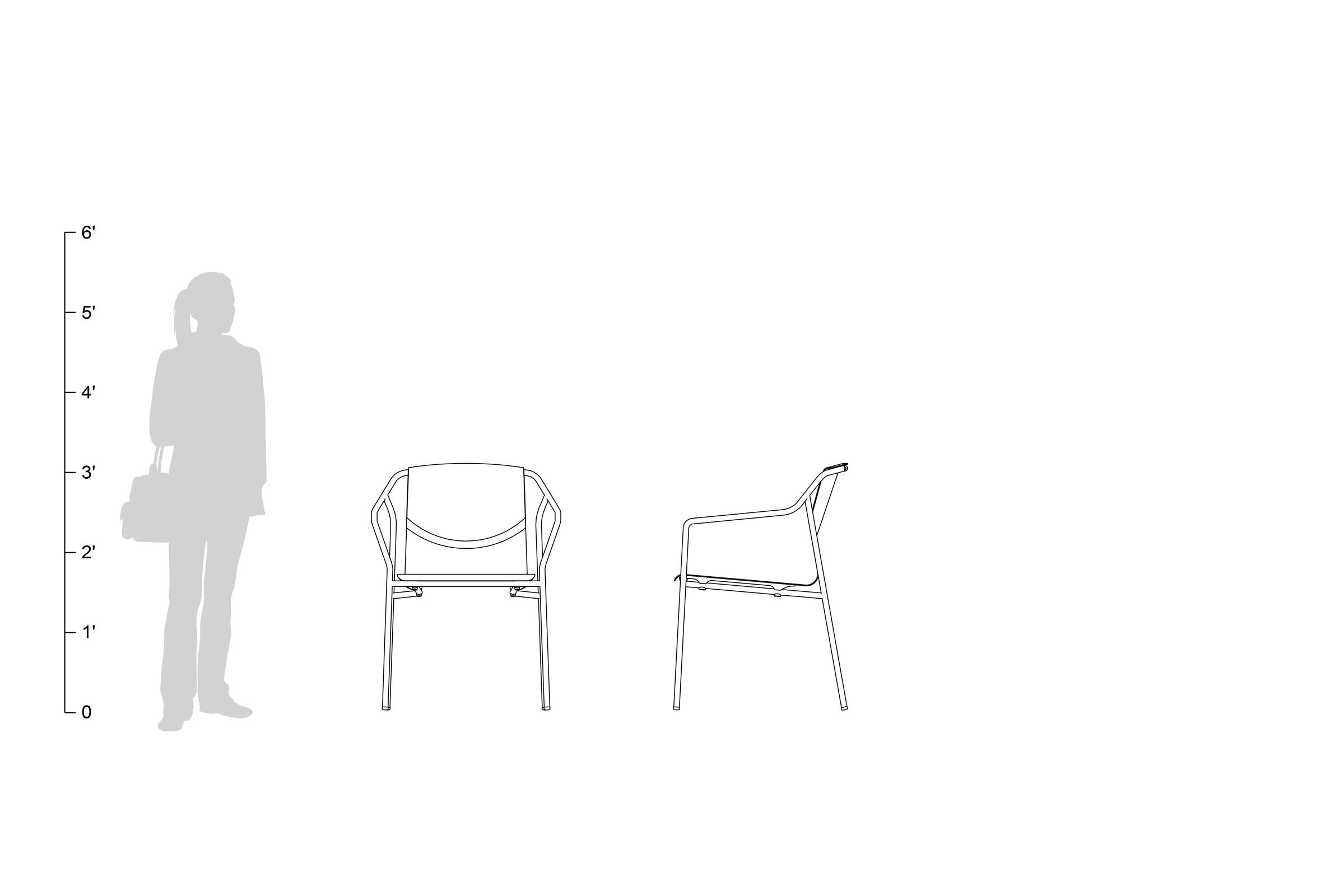 Factor Chair, formed aluminum seat and back, with arms, shown to scale