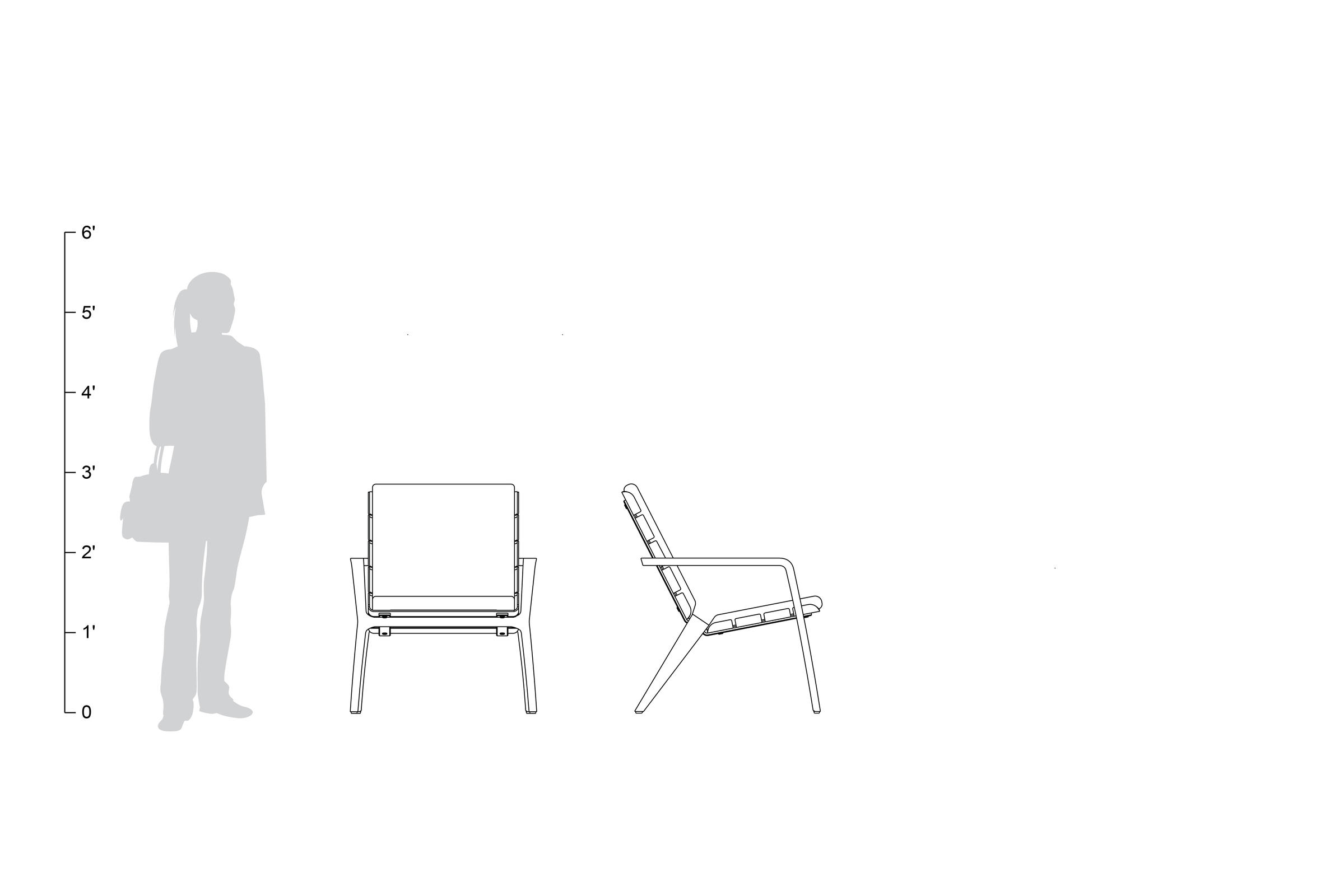 Vaya Textile Chair, shown to scale