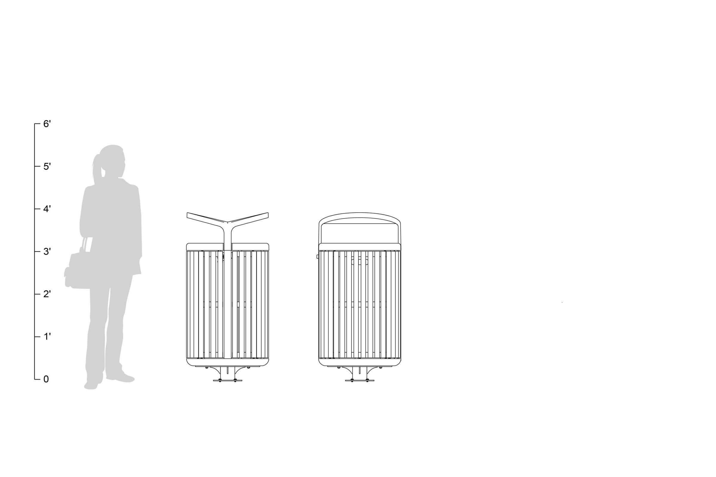 Tonyo Receptacle, 30-gallon, FSC® 100% Cumaru hardwood body/door, shown to scale