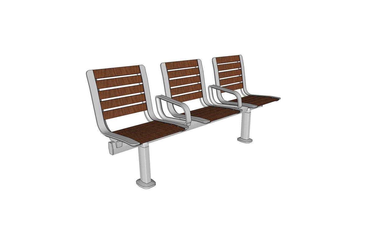 Tangent Rail Seating, 3 backed seats, FSC 100% Ipé hardwood slats