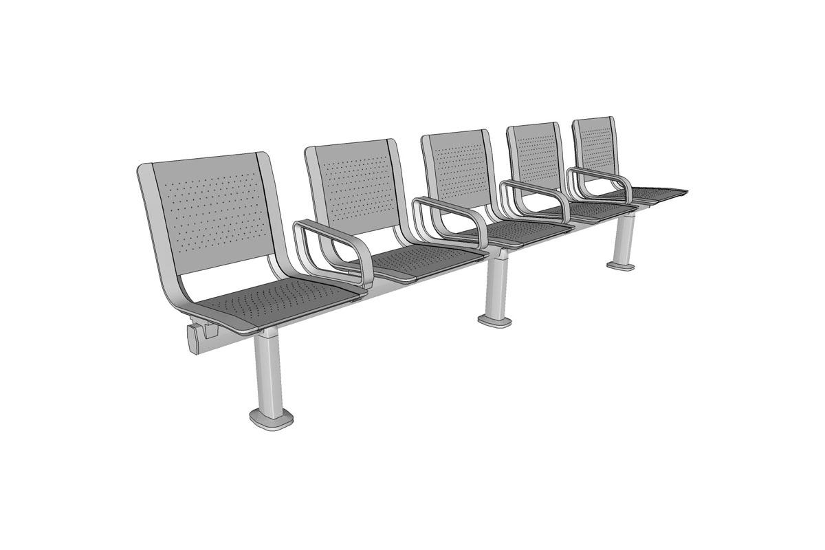 Tangent Rail Seating, 5 backed seats, stainless steel seat pans, Micro