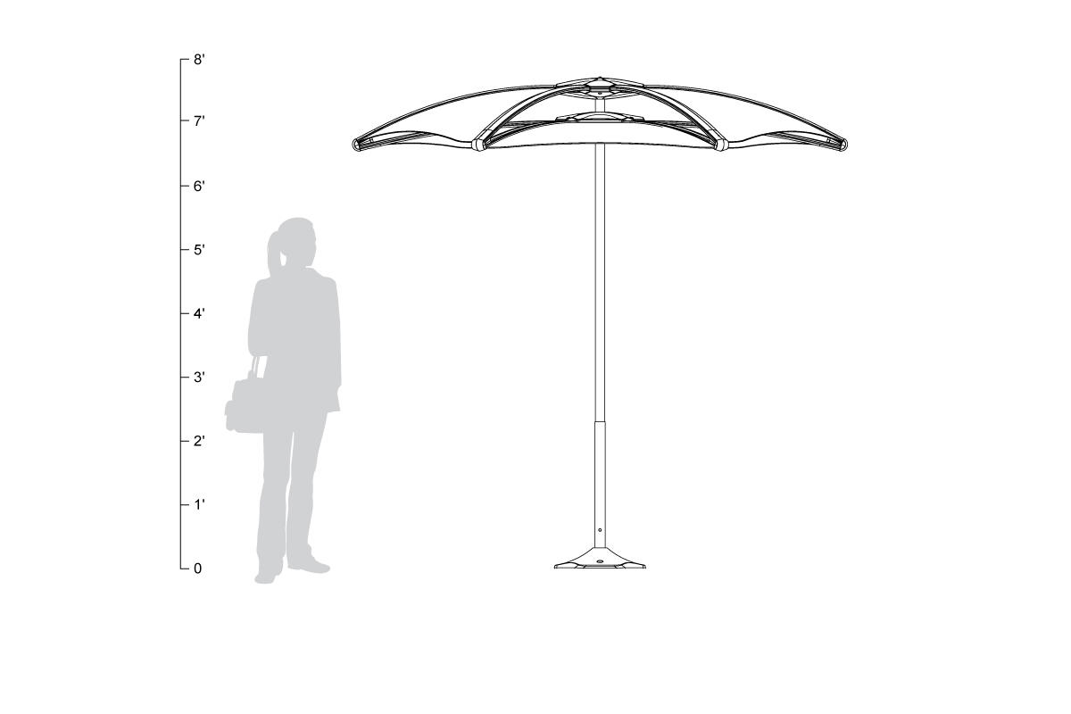 Soleris Sunshade, standalone, shown to scale