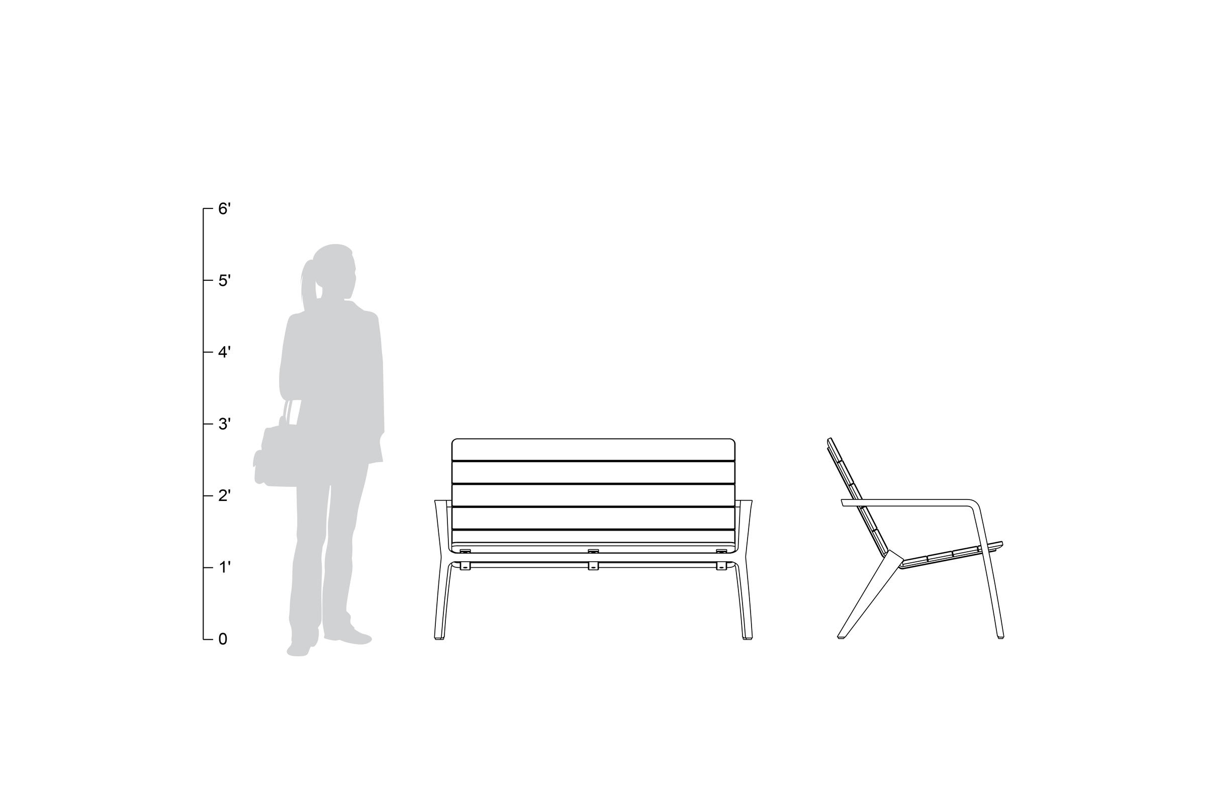Vaya Bench, shown to scale