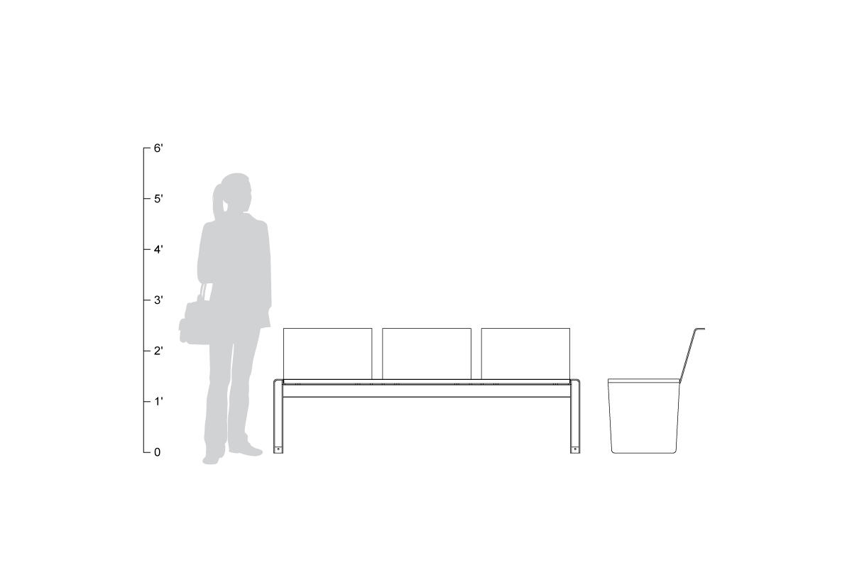 Vector 6 foot bench with seat backs, shown to scale.