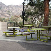 Custom Duo Café Tables with powdercoated frames and table tops and FSC 100% Ipé