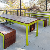 Duo Benches and custom Duo Tables with powdercoated frames and FSC 100% Ipé hard