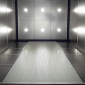 Elevator Ceiling in Stainless Steel with Sandstone finish, LED downlights shown