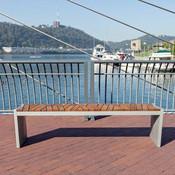 Boardwalk Bench with Atlantic City Boardwalk FSC Recycled reclaimed Cumaru
