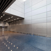 LEVELe Wall System with Float panels; lower insets in Stainless Steel