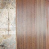ViviStone Opal Onyx glass with Standard finish shown as a wall accent
