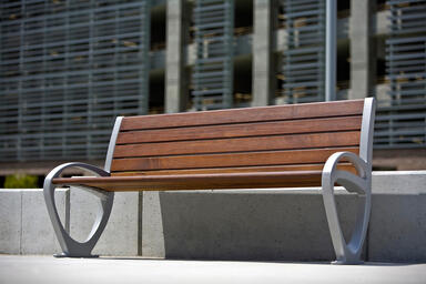 Trio Bench, 6 foot, backed, powdercoated frame, FSC® 100% Ipé slats